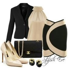 Fab Business Upscale look. Nude & Black Color Block Skirt paired with sleeveless highneck blouse & a tailored blazer Not to mention the lovely Chanel Purse