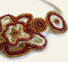 Crochet Beaded Necklace Plum & Amber Colored by CatalinaInspired