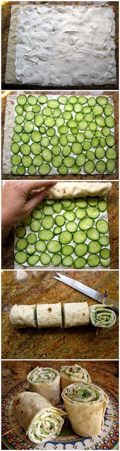Picknick Snack und Fingerfood - einfach Gurken und Käse in ein flaches Brot rollen *** Picnic Snack and Finger Party Food with Lavash Bread, Cucumber and Cream Cheese