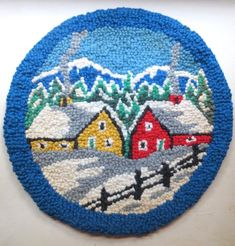 Items similar to Hooked Rug Hot Plate Mat Vintage Murray Bay - Vintage - Made in Canada - Folk Art Design on Etsy Plate Mat, Small Mats, Rug Inspiration, Rug Hooking, Hearth, Folk Art, Scene, Canada, Textiles