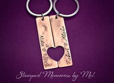 His & Hers Name Set Hand Stamped Copper by StampedMemoriesbyMel