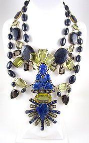 iradj moini jewelry | Magnificent Iradj Moini Lapis Buddha Bib Necklace (item #1011262)