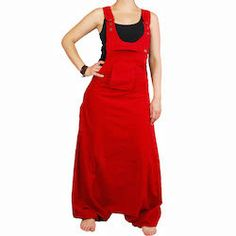 Large overall sarouel for mens or womens in red by BaliWoodShop