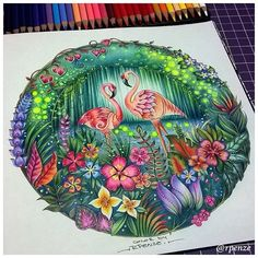 World of Flowers de Johanna Basford - Jungle Coloring Pages, Coloring Book Art, Animal Coloring Pages, Colouring Pages, Adult Coloring, Magical Jungle Johanna Basford, Gel Pen Art, Enchanted Forest Coloring Book, Joanna Basford