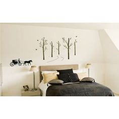 Retro Carriage Running in the Birch Forest Wall Sticker