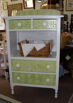 Vintage meets modern! This vintage dresser just needed a new look! I transformed it into this cute and unique yet versatile up-cycled shabby