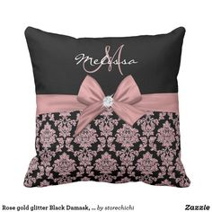 Rose gold glitter Black Damask, Bow, Diamond Throw Pillow #personalized #personalizedgifts #girly #pillows #giftpillows