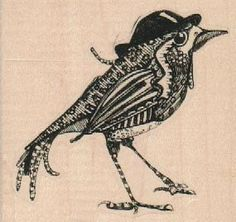 bird with top hat  -  steampunk zentangle