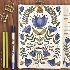 I'm excited to share this months theme with you guys! I've been a fan of fol… I'm excited to share this months theme with you guys! I've been a fan of folk art patterns for as long as I can remember, and am so happy… Doodle Bullet Journal, Bullet Journal Cover Page, Bullet Journal 2020, Bullet Journal Notebook, Bullet Journal Aesthetic, Bullet Journal Ideas Pages, Bullet Journal Spread, Bullet Journal Layout, Journal Covers