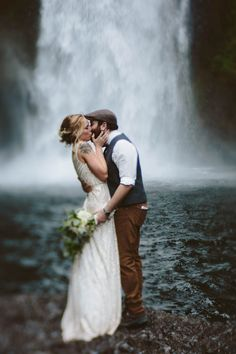 Everything about this waterfall elopement is ridiculously amazing   Image by Abby Tohline Photography Co.