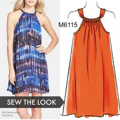 587599bb335 Sew the look  This McCall s dress pattern is easy enough for a beginner to  sew. Choose a lightweight cotton woven fabric. M6115 trapeze dress