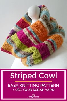 Striped Cowl: Easy Knitting Pattern If you're looking for a fun way to use up all your yarn scraps, look no further. If you can knit, you can make this easy knitted cowl pattern. Go ahead. Easy Scarf Knitting Patterns, Loom Knitting, Knitting Designs, Free Knitting, Knitting Ideas, Knitting Tutorials, Knitting Machine, Beginner Knitting Projects, Knitting For Beginners