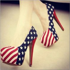 4th of July high heeled shoes