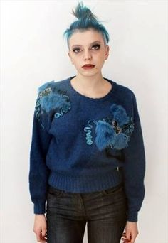 Vintage 80's Blue Slouchy alternative Jumper // This is a unique vintage, hand picked item by Pretty Disturbia which is right on trend!  FABRIC -80% Acrylic 20% Nylon It really is stunning and unusual. - it is perfect for any occasion!  DETAILS- It is high quality and unusual. It is classic and has gold fake fur trim with embellishment.. will have been very expensive new! STYLING- This is perfect for a night out with heels and skinny jeans or in the day with boots and a denim jacket, it goes… Fake Fur, Jumpers For Women, Fur Trim, Unique Vintage, Night Out, Knitwear, Alternative, Graphic Sweatshirt, Skinny Jeans
