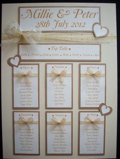 Old gold and champagne coloured organza ribbons adorn the 'Millie' collection table plan Micky Flanagan, Organza Ribbon, Champagne Color, Table Plans, Traditional Wedding, Facebook Sign Up, Wedding Table, How To Plan, Ribbons