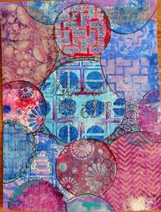 Round Gelli Plate Tutorial Part 1 with Mixed Media Artist - Diane Salter!  I  didn't  do  this  in  one  shot--there  was  a  lot  of  trial  and  error  experimenting,  until  I  started  to  feel  comfortable  with  what  I  was  doing.   By  this  time,  I  knew  what  kind  of  art  that  I  was  going  to  make  with  all  of  my  print  playing,  so  I  decided  to  'finish'  off   this  page.  I  could  have  left  it  as  is,  but  I  just  can't  seem  to  leave  that  white  space…