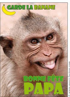 Carte Garde la banane petit singe pour envoyer par La Poste, sur Merci-Facteur !