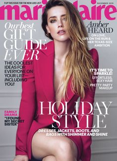 Amber Heard Pose on Marie Claire December Magazine 2015 cover shoot