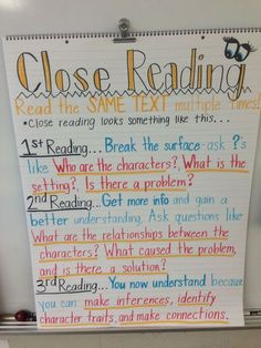 Features Close Reading- anchor chart for introduction to the unit.Close Reading- anchor chart for introduction to the unit. 2nd Grade Ela, Third Grade Reading, 3rd Grade Classroom, Second Grade, Fourth Grade, Science Classroom, Classroom Activities, Classroom Decor, Close Reading Strategies