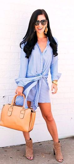 #fall #outfits women's white buttonup longsleeved mini dress
