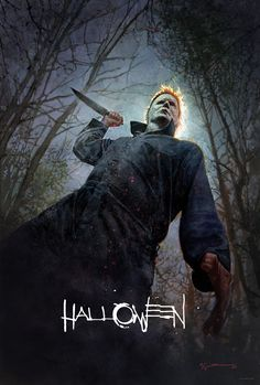 An exclusive San Diego Comic-Con poster for the upcoming Halloween revival is now online, and Bill Sienkiewicz's artwork perfectly captures the enduring menace of legendary serial killer, Michael Myers. Halloween 2018, Halloween Film, Premier Halloween, Halloween Poster, Halloween Soundtrack, Halloween Prints, Horror Movie Posters, Horror Icons, Horror Art