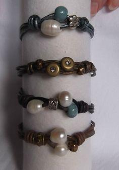 Pulseras cuero y perlas de rio