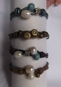 Leather metal and ceramic beads bracelet by Kositas12 on Etsy, €12.00