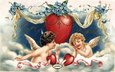 """Super-cute vintage Victorian-era Valentine with cupids, blue flowers and hearts. Message """"To My Valentine."""" One of more than 100 #vintage victorian-era #valentines available from piddix for licensing. PDXC8397 -- Valentine's Day"""