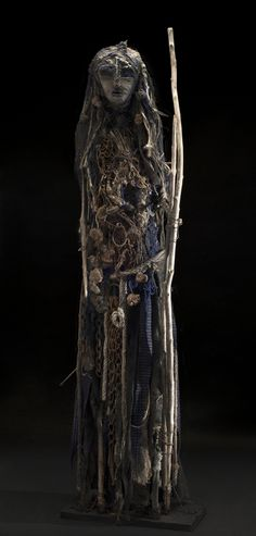Sylvain and Ghyslaine Staelens - Grand Chasseur Bleu , 2014 Wood, metal, cloth, found objects 68 x 20 x 12 inches / 172.7 x 50.8 x 30.5 cm / GSS 21