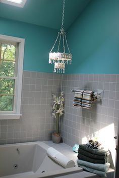 Teal And Grey Bathroom. Bm Peacock Blue 2049 40 On Top Gray On The Bottom Tile Trim To Replace Chair Rail