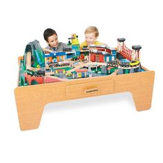 Wooden Train Set with Table - 60 Pieces | Kmart | present ideas ...