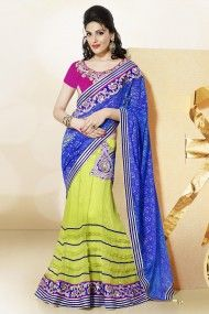 Net Jacquard and Net and Satin Lehenga Saree In Blue and Neon Green Colour