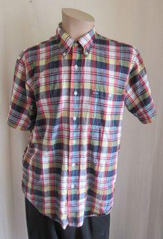 PENDLETON Men's Oceanside Short Sleeve Multi-Color Madras Plaid Shirt L Large #Pendleton #ButtonFront