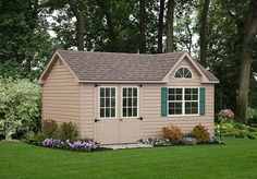 Love the half round window in this Dormer style shed! Vinyl Storage Sheds, Vinyl Sheds, Shed Storage, Custom Sheds, Architecture Details, The Great Outdoors, Storage Solutions, Outdoor Structures, Color