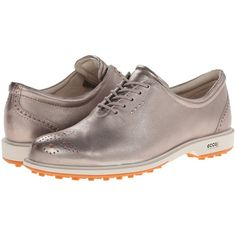 ECCO Golf Tour Golf Hybrid (Moon Rock/Orange/Universe/Outsole) Women's... (£72) ❤ liked on Polyvore featuring shoes, metallic, metallic shoes, ecco shoes, grip shoes, water resistant shoes and orange shoes