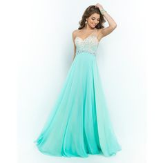 Blush Prom 9965 Sea Glass Green Beaded Ombre One Shoulder Open Back Chiffon Gown featuring polyvore fashion clothing dresses gowns green dress green gown a line dress beaded gown chiffon dress
