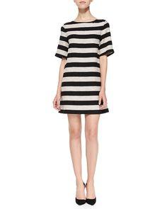 Alice   Olivia Black Mandy Striped Shimmery Shift Dress