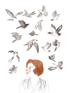 """""""She laughed enough to migrate an entire flock of birds"""" - Jonathan Safran Foer, Extremely Loud & Incredibly Close...drawn by Lizzy Stewart"""