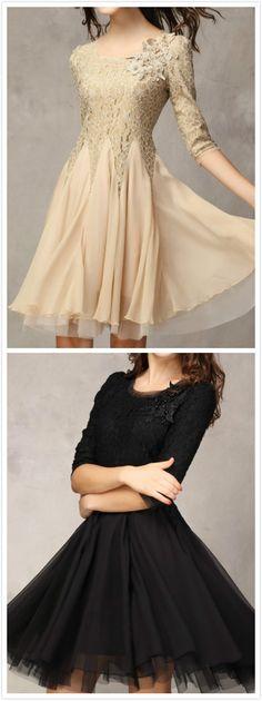Elegant 3/4 Sleeve Lace A-line Cocktail Dress