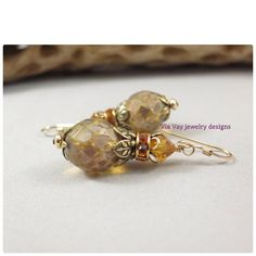 Czech Picasso Earring Champagne Opal by ViaVayJewelryDesigns, $23.00