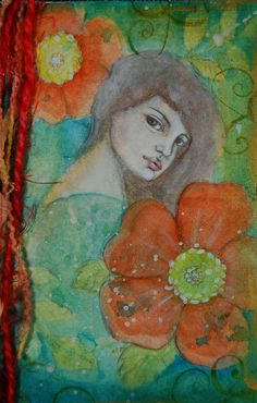 Journal Page, Sweet One, Cristina Zinnia Galliher Mixed Media Painting, Zinnias, Art Journal Inspiration, Journal Pages, Art Sketches, Bookmarks, Envelopes, Tags, Sweet