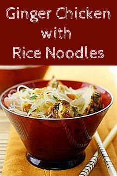 Ginger Chicken With Rice Noodles Recipe Maybe use sesame oil instead of olive oil. Gf Recipes, Asian Recipes, Chicken Recipes, Cooking Recipes, Healthy Recipes, Ramen Recipes, Recipies, Chicken Rice Noodles, Zucchini Noodles