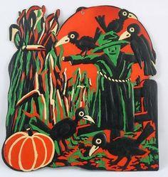 Vintage Halloween Beistle Scarecrow & Crows Diecut.