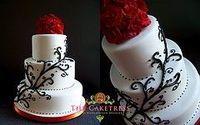 Black , white and Red wedding cake www.Thecaketress.ca