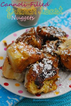 Cannoli Stuffed French Toast Nuggets.  Made with hotdog buns so they will will be great for camping.