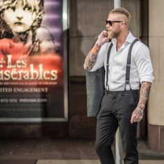 Josh Mario John - blond beard beards bearded man men mens' street style suspenders tattoos tattooed ink hairstyle blonde handsome #sharpdressedman #beardsforever
