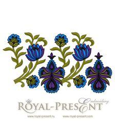 Machine Embroidery Design - Orchide border, $3.75