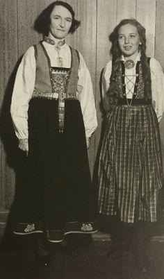 To tidlege utgåver av sognebunad frå Heimen Norway, Ethnic, Vest, Costumes, Traditional, Vintage, Style, Fashion, Swag