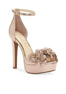1666e04af2cc Jessica Simpson Open Toe High Heel Flowers Platform with Ankle Straps