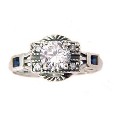 Art Deco Style Sterling Silver .85ct Cubic Zirconia and Sapphire Ring